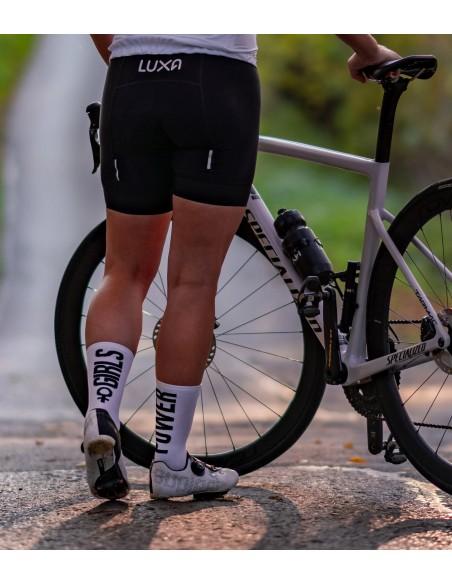 rowerowe skarpetki dla kobiet z napisami Girls Power, białe włókno i widoczne napisy