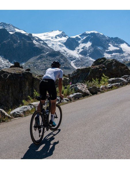 male cyclist climbing in Switzerland on his road bike