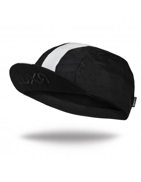 czarna czapeczka rowerowa z daszkiem Luxa Stripe Black z białym paskiem