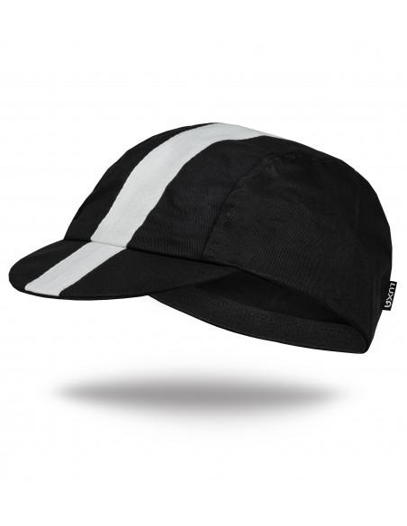 czapka pod kask kolarski wykonana z czarnej bawełny i białym paskiem na górze i na daszku