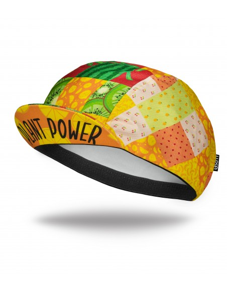 Plant Power Cycling Cap with colorful fruits design