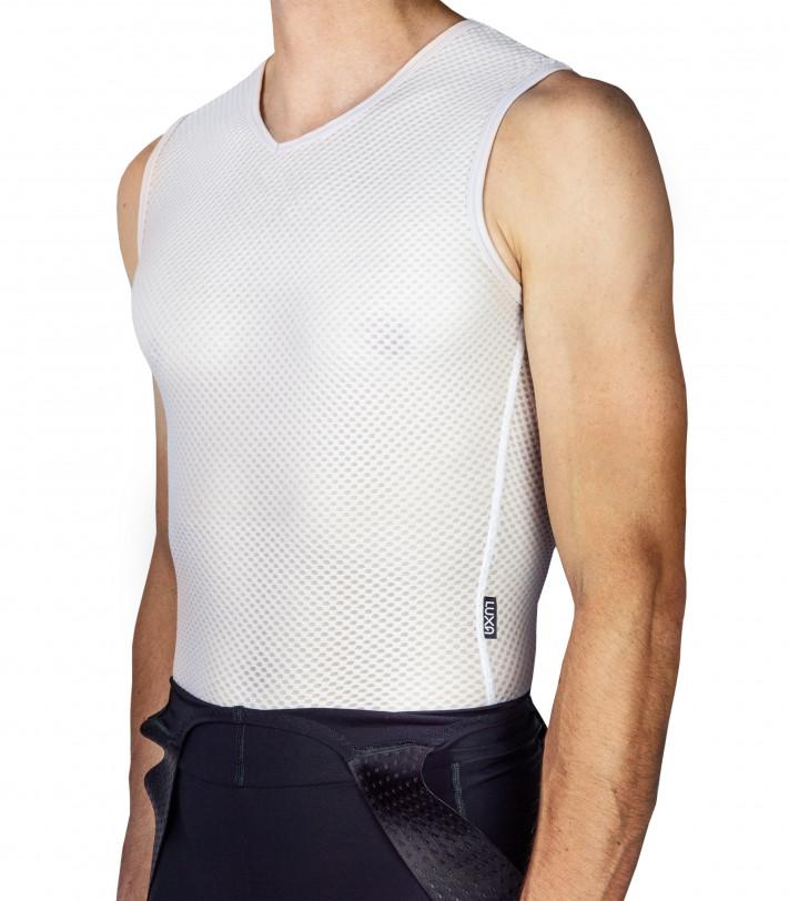 breathable white cycling base layer (sleeveless)