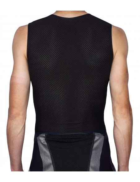 the entire undershirt is made of perforated lightweight material that does not adhere to the sweaty skin