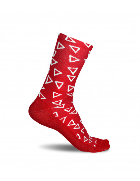 Luxa Wild Red cycling socks with an interesting and eye-catching pattern