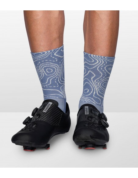 Socks inspired by a traditional map with isometric lines