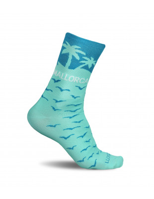 Tropical Mallorca azure colored cycling socks