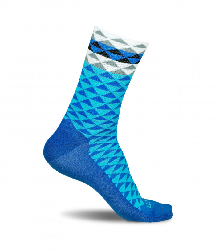 Asymmetric Blue Cycling Socks by Luxa