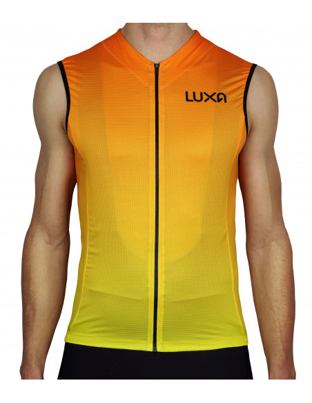Orange Sleeveless cycling jersey by Luxa