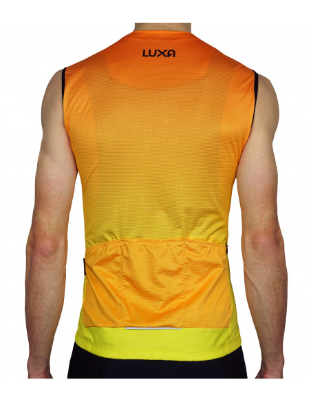 Orange Sleeveless cycling jersey by Luxa - back