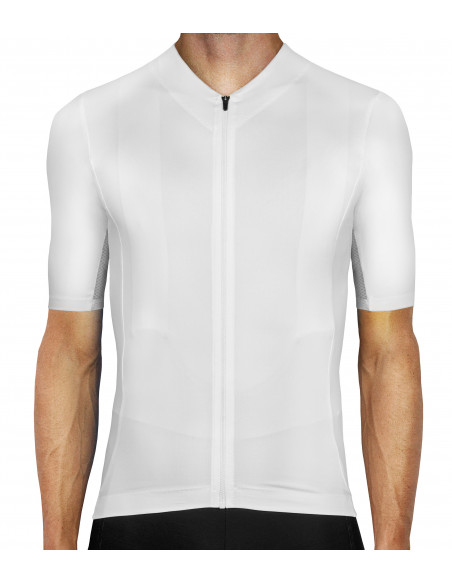 Secret White Cycling Jersey - no logo, unbranded clean design - Luxa