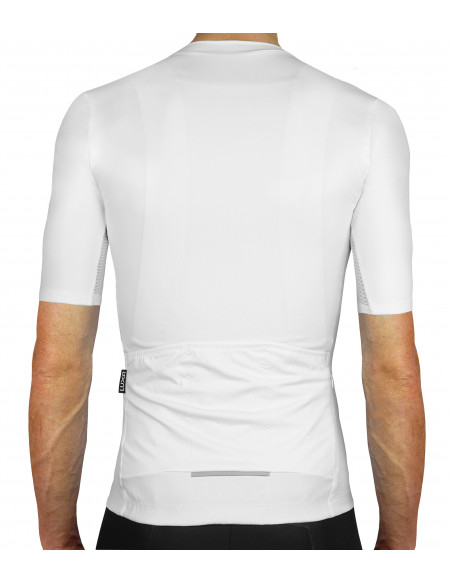back of the clean no logo style of our Secret White Cycling Jersey - Luxa