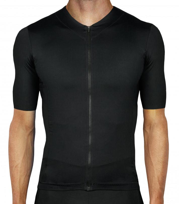 Cała czarna koszulka kolarska Luxa Secret Black - bez logo i nadruków
