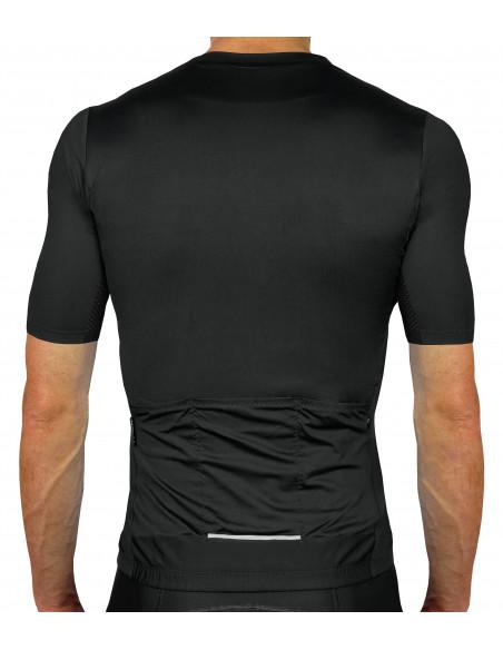 plecy - 100% czarna koszulka kolarska Luxa Secret Black czysty styl bez dodatków