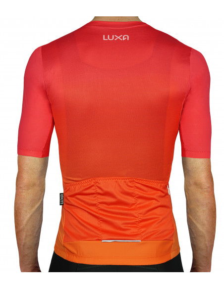 gradient from red to orange - Sunset Cycling Jersey on the back | Luxa