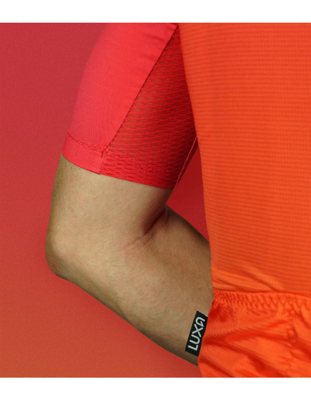aerodynamic cut sleeves, superb ventilation - Luxa Sunset red Cycling Jersey