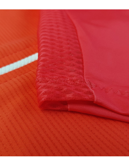 Red / orange ombre fabric used to sew our Sunset jersey. UV filter