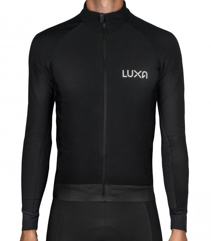 Black Cycling Midnight Jersey for autumn riding made by Luxa