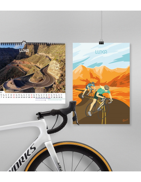 Living room of the cyclist enthusiast. Keep the bike with UCI calendar and poster on the wall