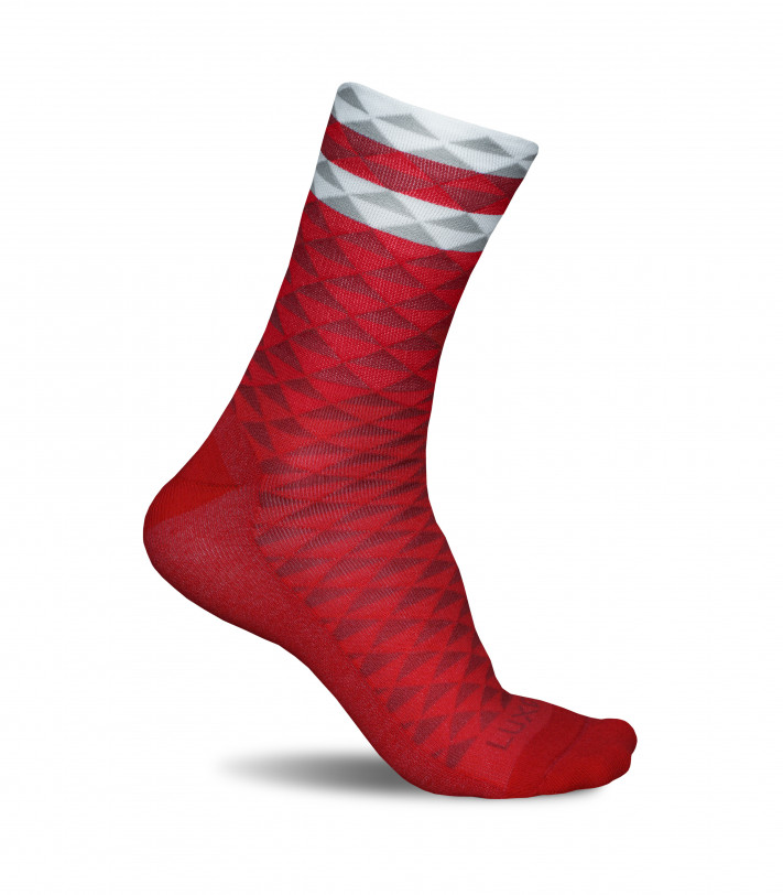Asymmetric Red Luxa Cycling Socks. Durable and high-wicking