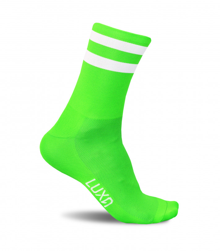 Socks for cyclists in green fluo saturated color. Made in Europe