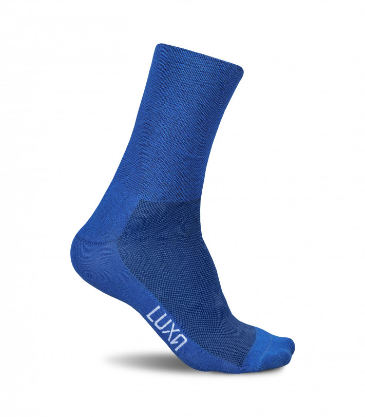 Socks for road cyclists. Blue classic color by Luxa