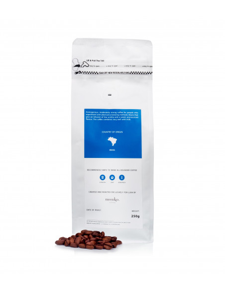 Deal with cycling and coffee. Luxa all-rounder. Beans from Brazil