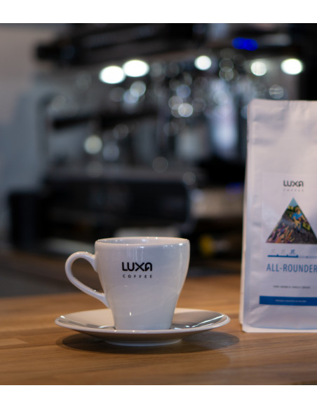 white classic cycling coffee cup by Luxa. Made in Poland