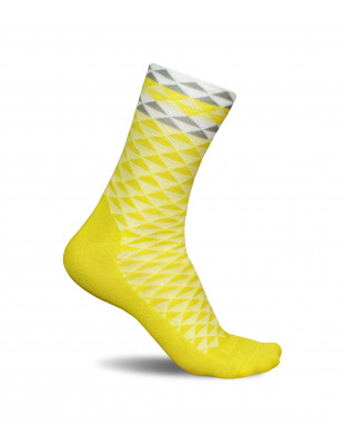 Yellow cycling socks made in Europe by Luxa