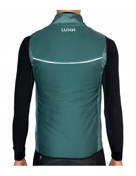 Luxa Verde cycling vest features reflective band on the back
