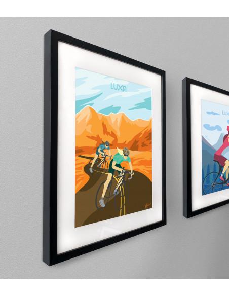 obraz rowerowy z motywem kolarzy i gór. Pomysł na prezent dla rowerzysty