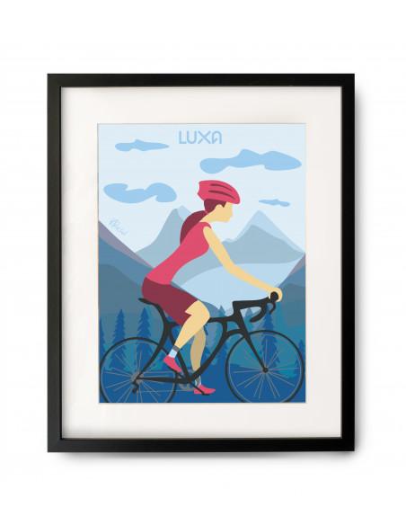 Obraz z kobietą na rowerze szosowym. Pomysł na prezent dla rowerzysty