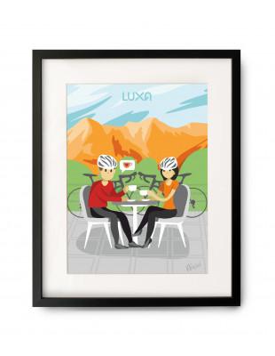 Obraz formatu A3 z kobietą i mężczyzną, którzy piją kawę w ramach rowerowej przerwy