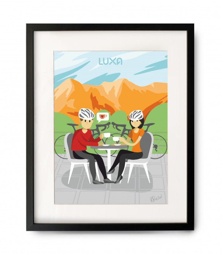 Cafe Stop cycling poster with frame
