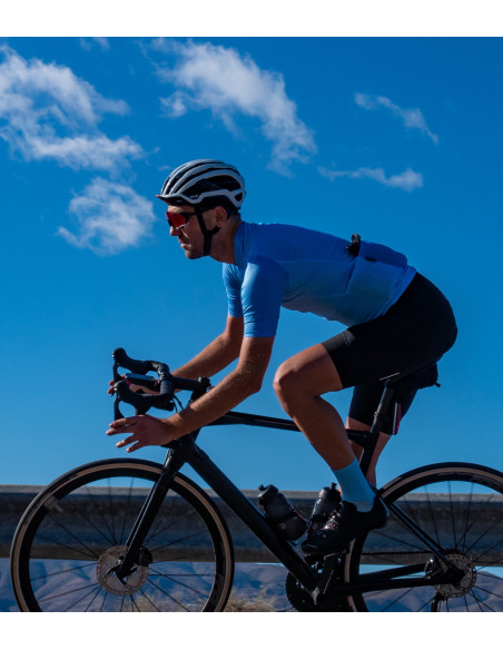 Light blue kit tested on the road. Cycling apparel made in Europe