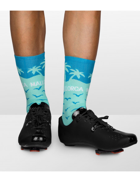 holiday designed socks with palms, ocean and lazure water