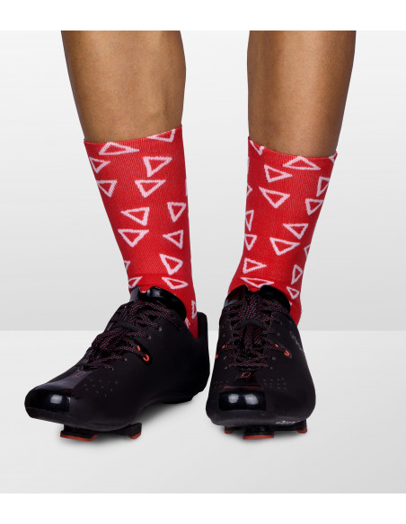 interesting socks with white triangle pattern