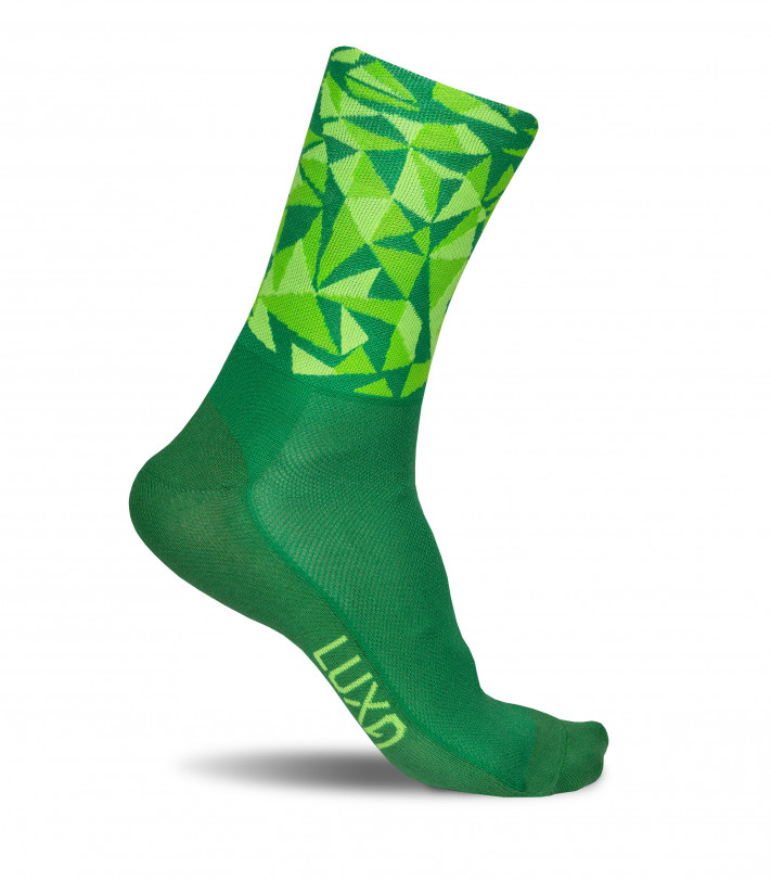 eye-catching Luxa Anaga Green socks for road cyclists.