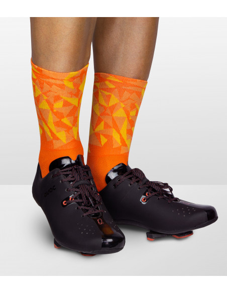 Luxa orange socks combined with black Quoc road shoes