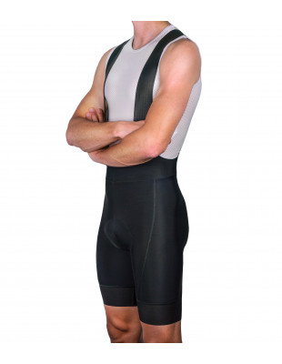All black minimal bib shorts for road cyclists by Luxa