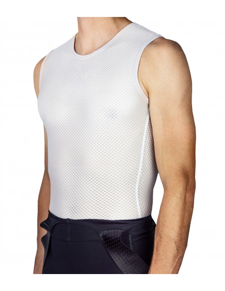 Cycling summer base layer in white color. Mesh fabric structure