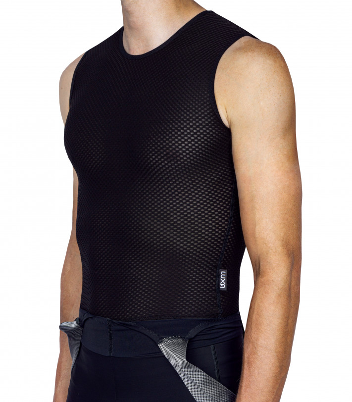 Breathable sleeveless summer base layer for cyclists
