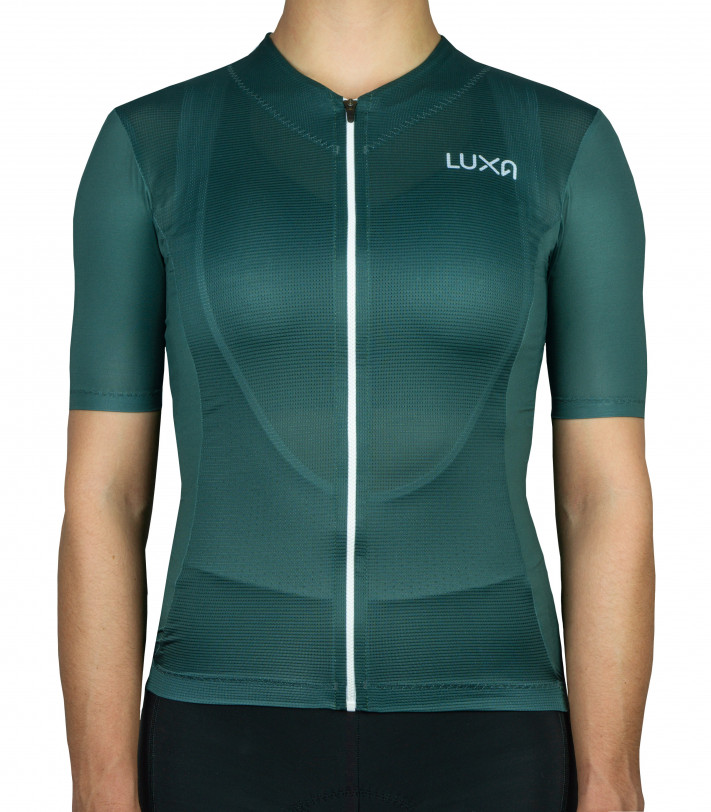 Clean deep bottle green style of the Luxa Verde Women's Cycling Jersey