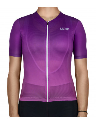 violet women's cycling garment with full zipper manufactured by Luxa in Europe