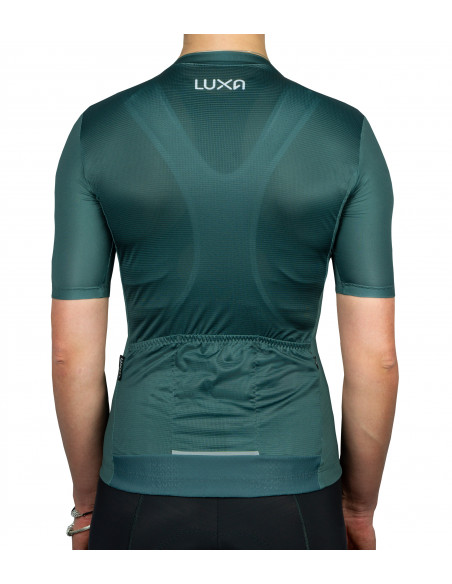 Verde women's cycling jersey features minimalist dark green color design