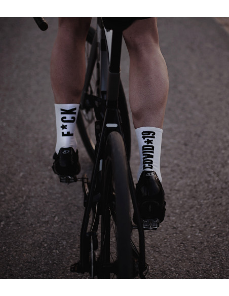 fuck covid white cycling socks made in Europe.