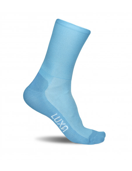 light blue Luxa Milky Way socks for road cyclists