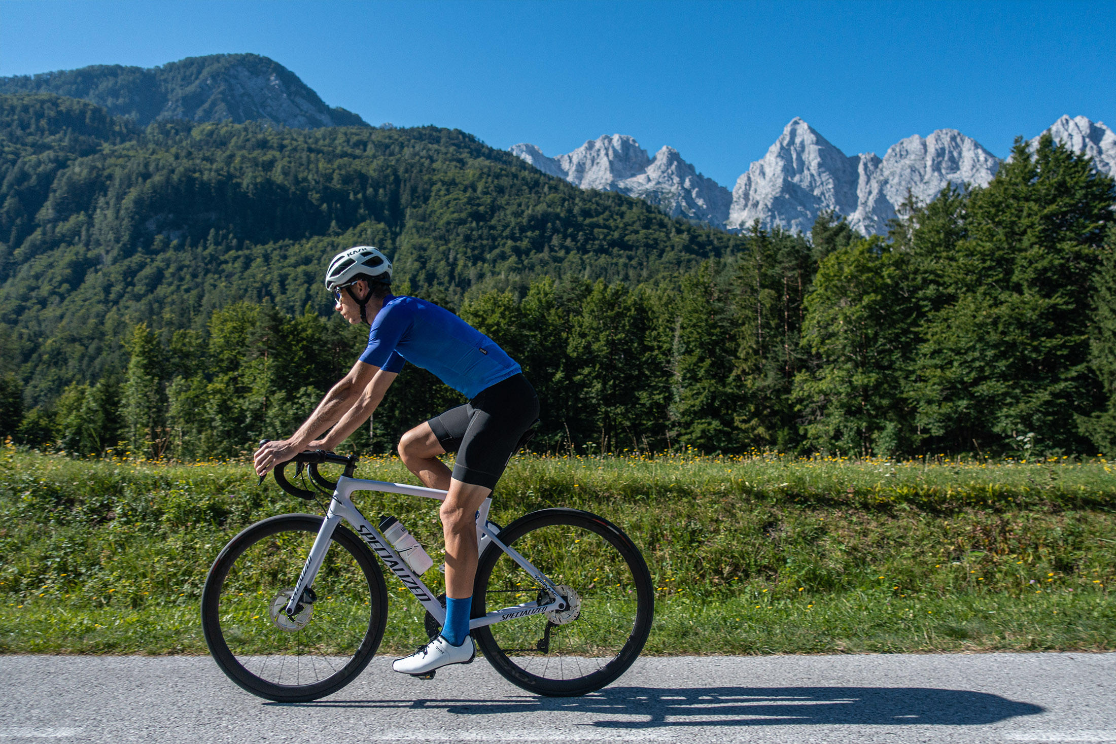 Luxa Moonrise blue jersey + socks cycling in Slovenia