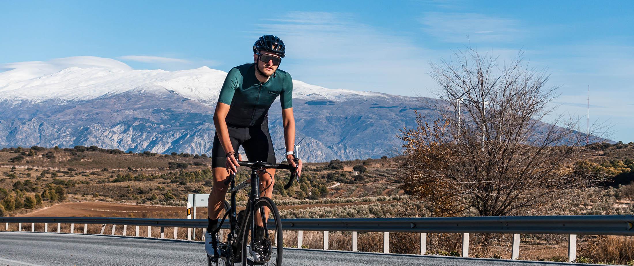 Match with black bib shorts or deep green cycling socks.