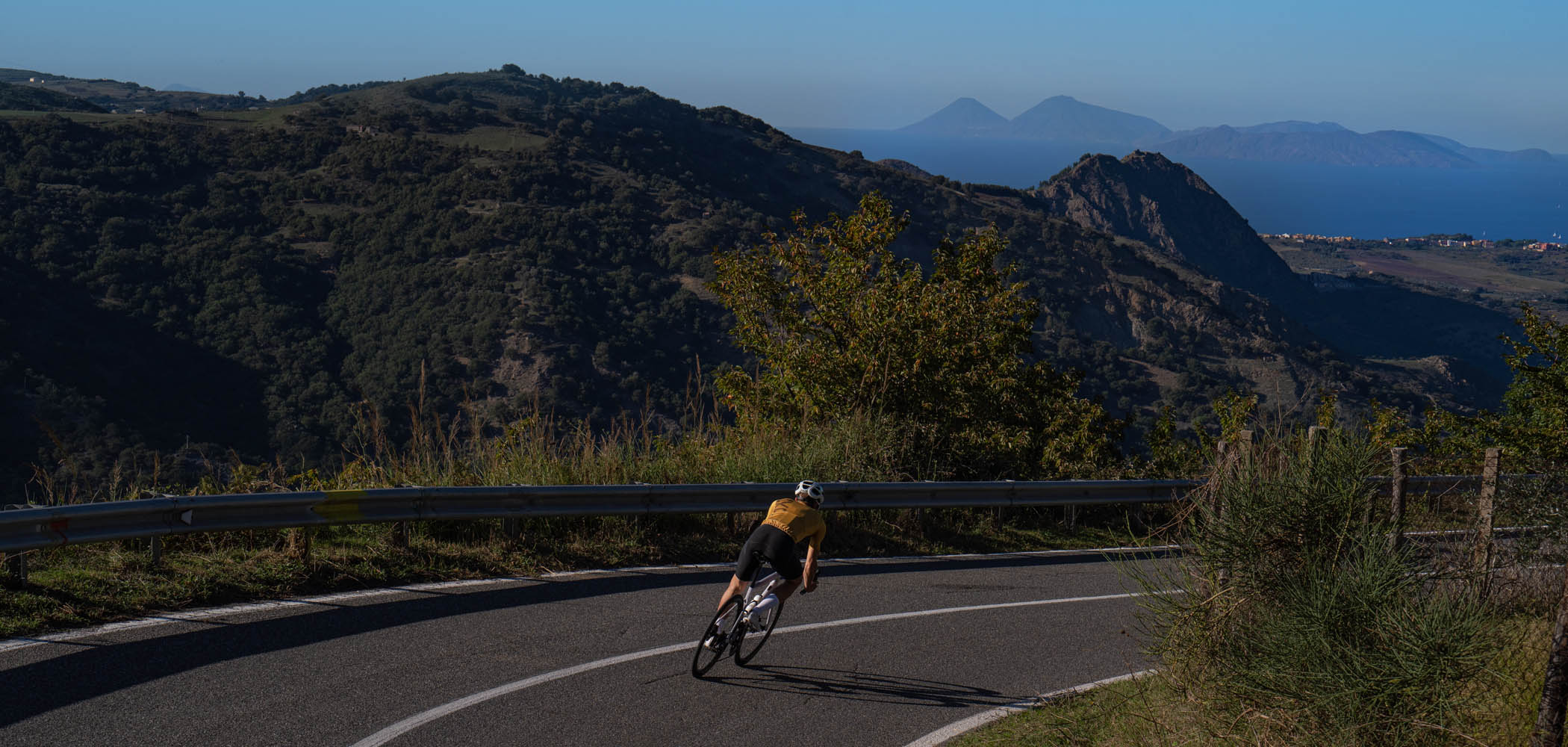 beautiful cycling ride in Sicily with Luxa gold kit