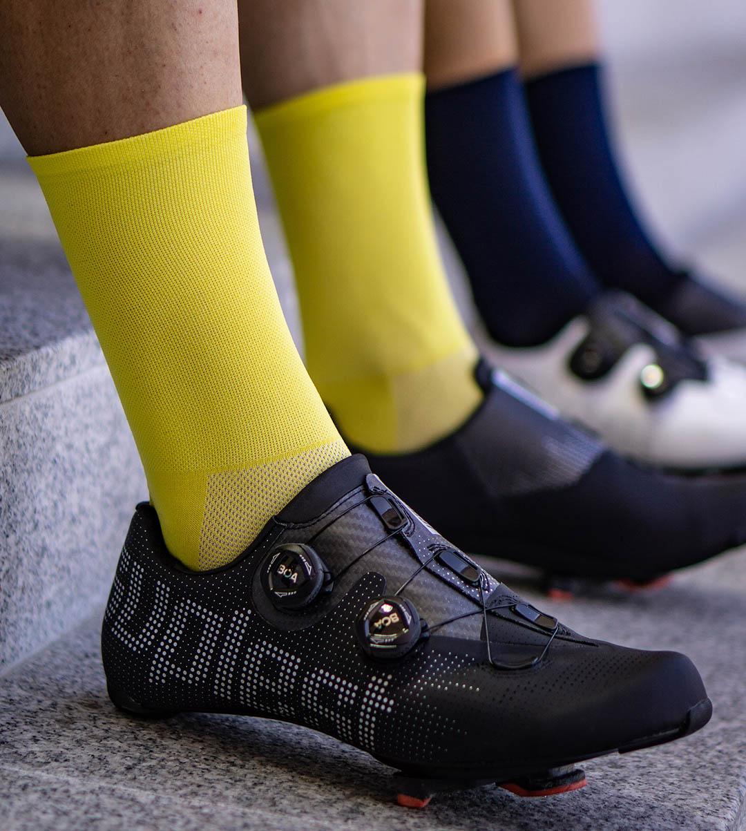 all yellow socks for road male and female cyclists. Made from eco-friendly yarns